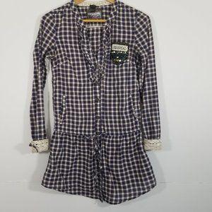 Desigual Plaid V-Neck Long Sleeve Shirts Size XS